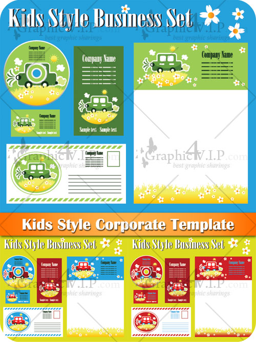 Kids Style Corporate Template - Stock Vectors