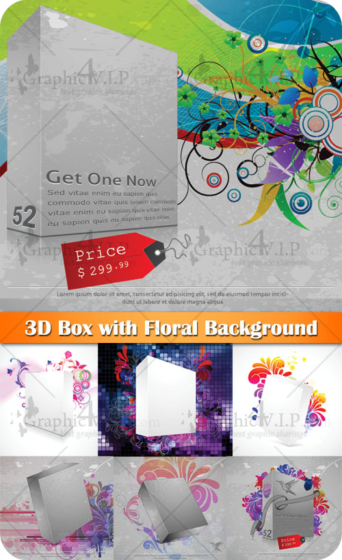 3D Box with Floral Background - Stock Vectors