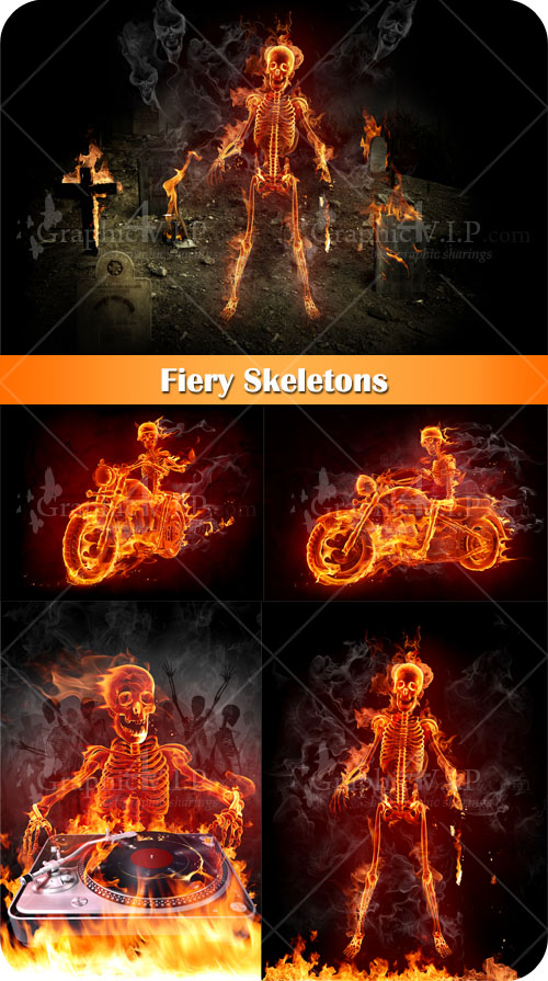 Fiery Skeletons - Stock Photos