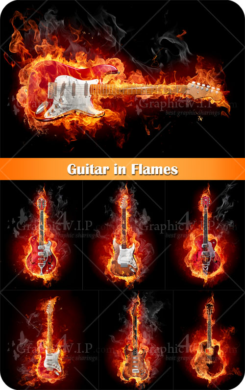 Guitar in Flames - Stock Photos
