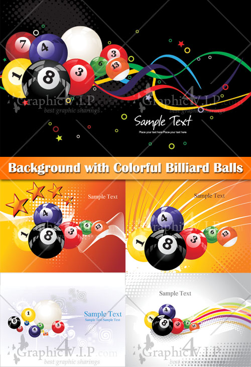 Background with Colorful Billiard Balls - Stock Vectors