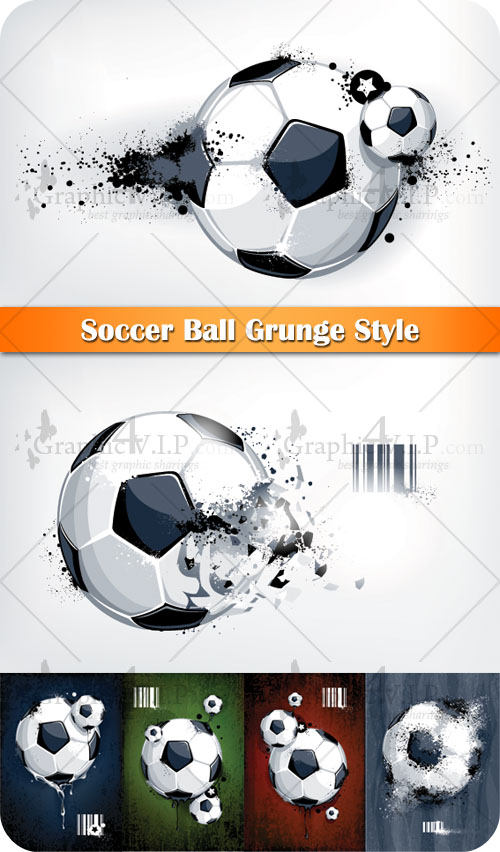 Soccer Ball Grunge Style - Stock Vectors