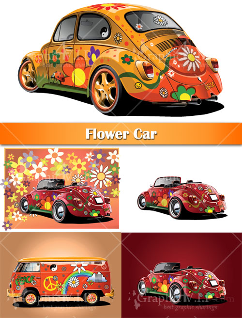 Flower Car - Stock Vectors