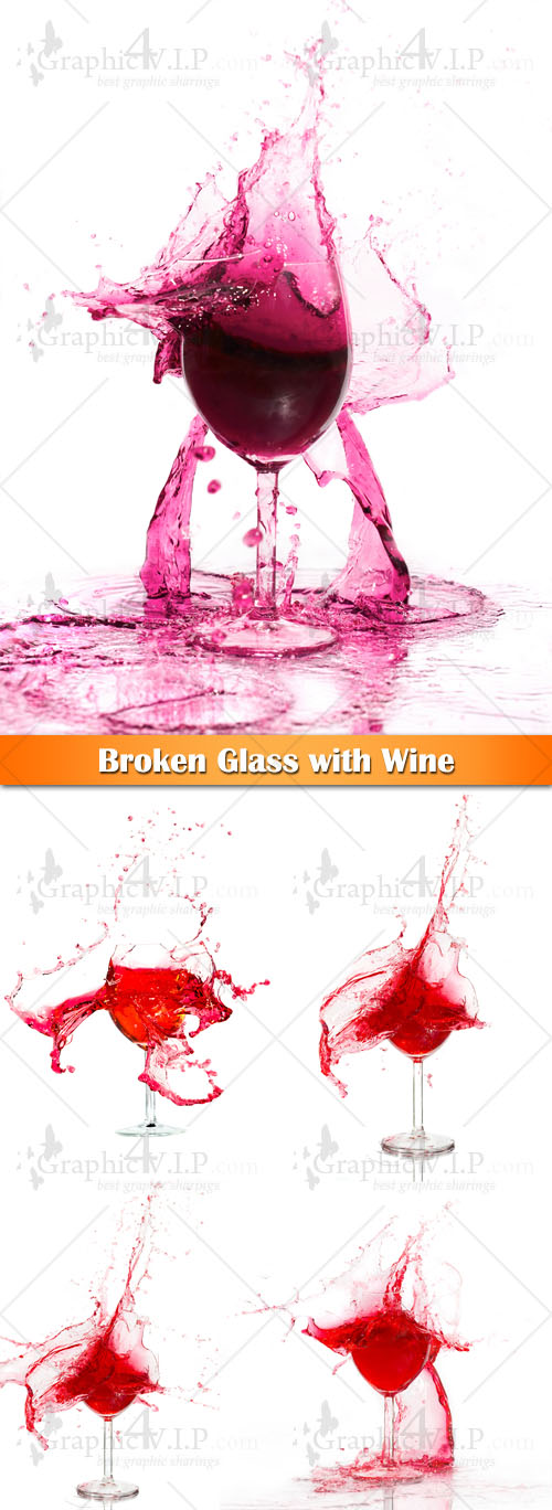 Broken Glass with Wine - Stock Photos