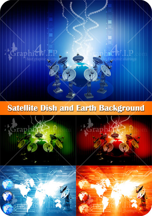 Satellite Dish and Earth Background - Stock Photos