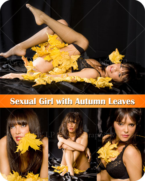 Sexual Girl with Autumn Leaves - Stock Photos