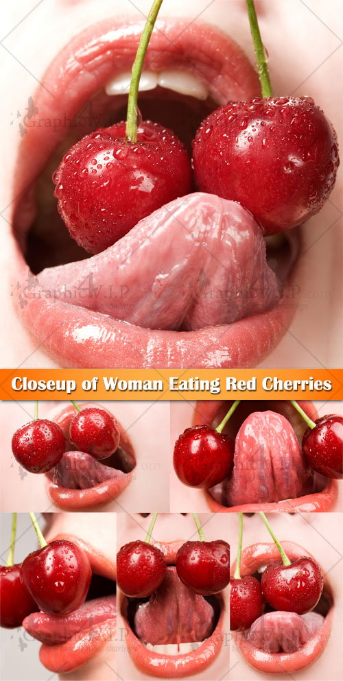 Closeup of Woman Eating Red Cherries - Stock Photos