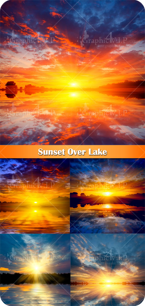 Sunset Over Lake - Stock Photos