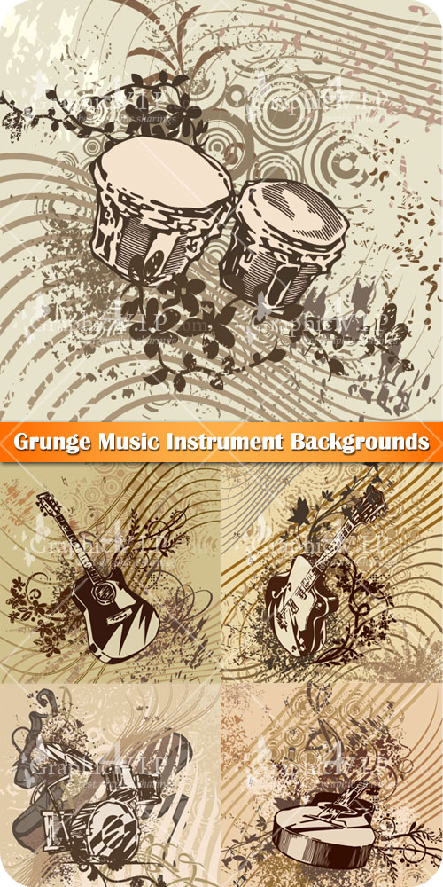 Grunge Music Instrument Backgrounds - Stock Vectors