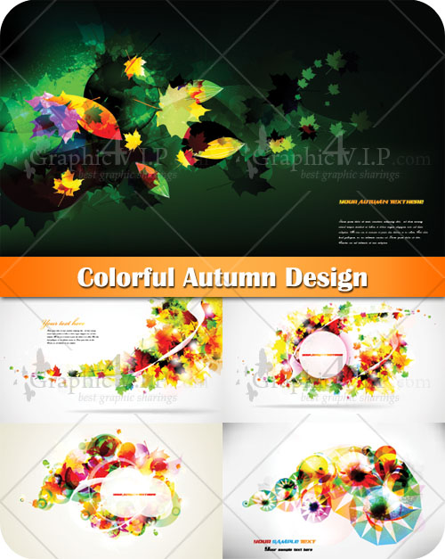 Colorful Autumn Design - Stock Vectors