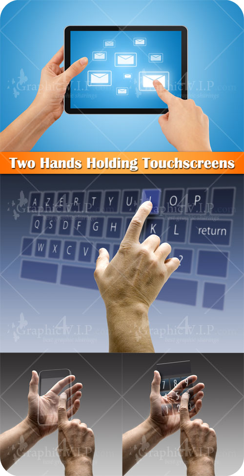 Two Hands Holding Touchscreens - Stock Photos