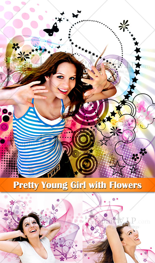 Pretty Young Girl with Flowers - Stock Photos