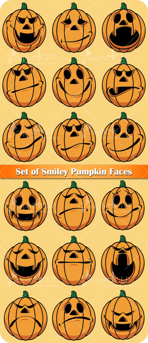Set of Smiley Pumpkin Faces - Stock Vectors