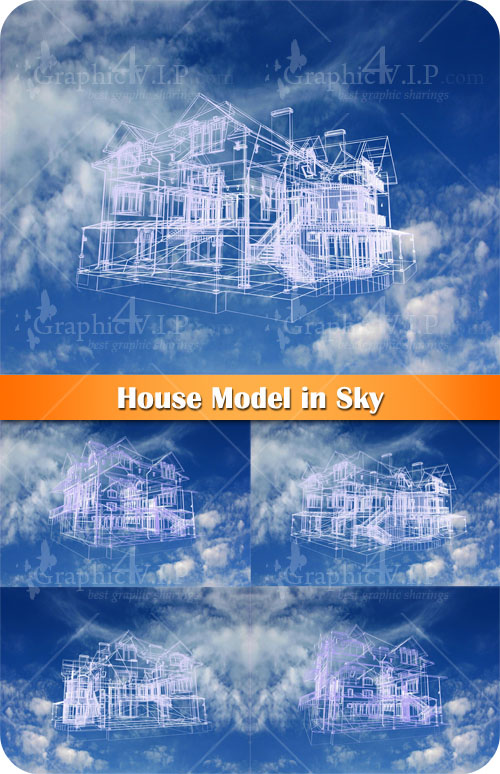 House Model in Sky - Stock Photos