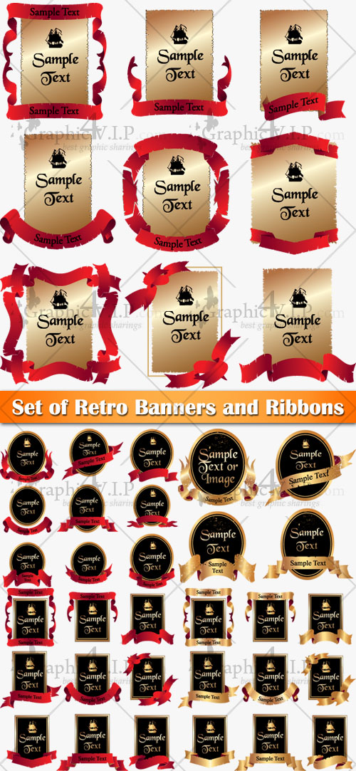 Set of Retro Banners and Ribbons - Stock Vectors