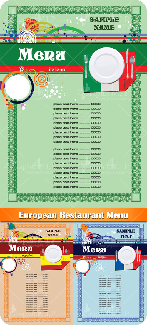 European Restaurant Menu - Stock Vectors