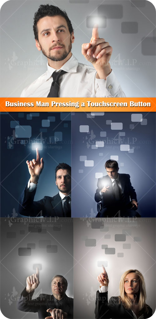 Business Man Pressing a Touchscreen Button - Stock Photos