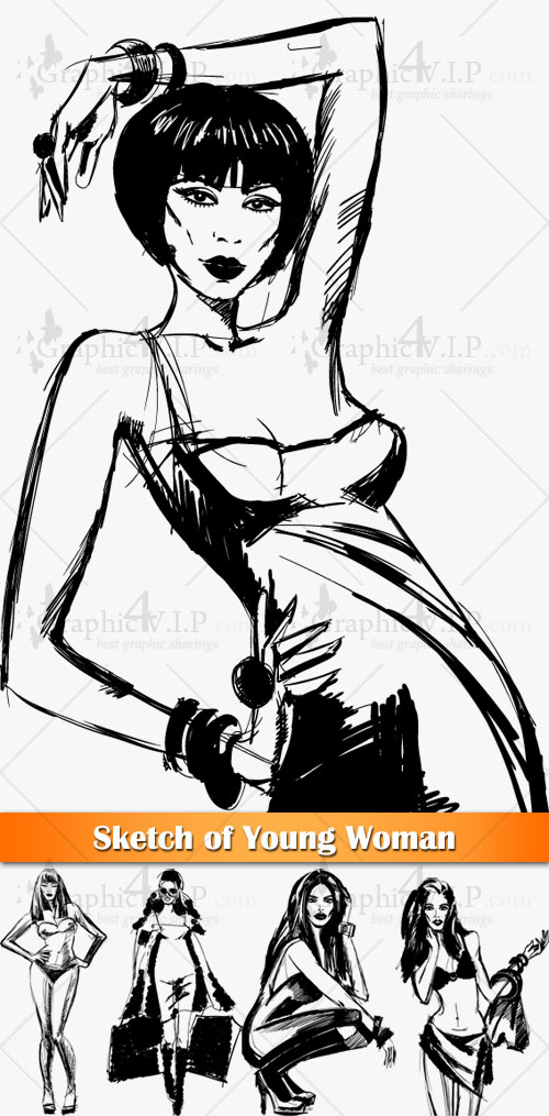 Sketch of Young Woman - Stock Vectors