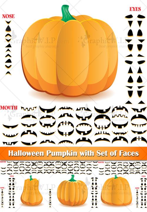 Halloween Pumpkin with Set of Faces - Stock Vectors