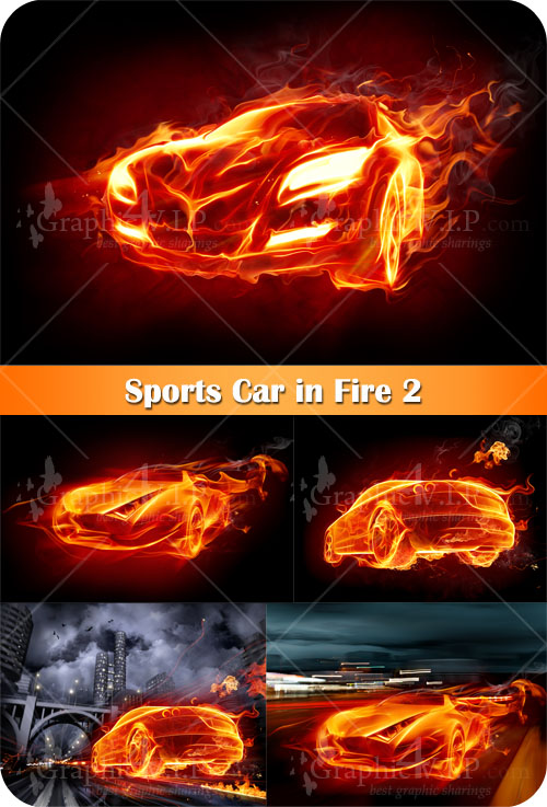 Sports Car in Fire 2 - Stock Images