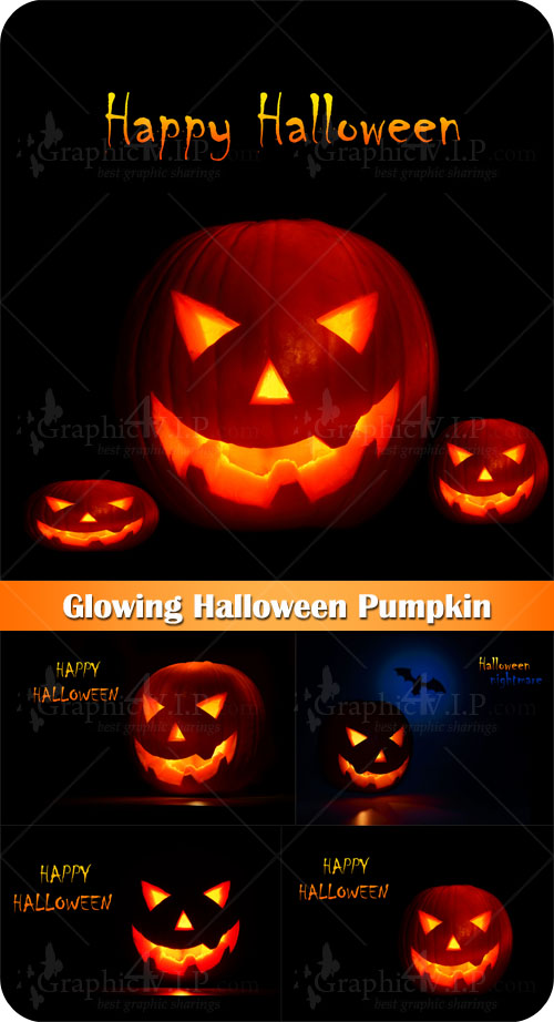 Glowing Halloween Pumpkin - Stock Photos