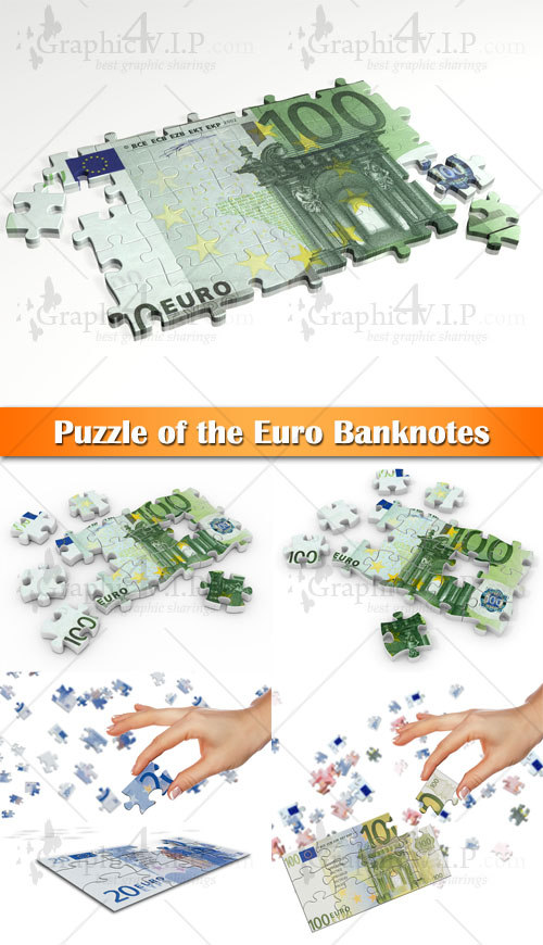 Puzzle of the Euro Banknotes - Stock Photos