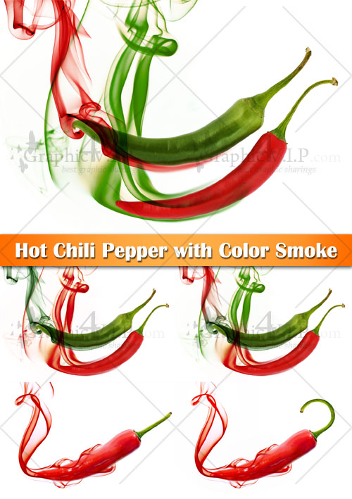 Hot Chili Pepper with Color Smoke - Stock Photos
