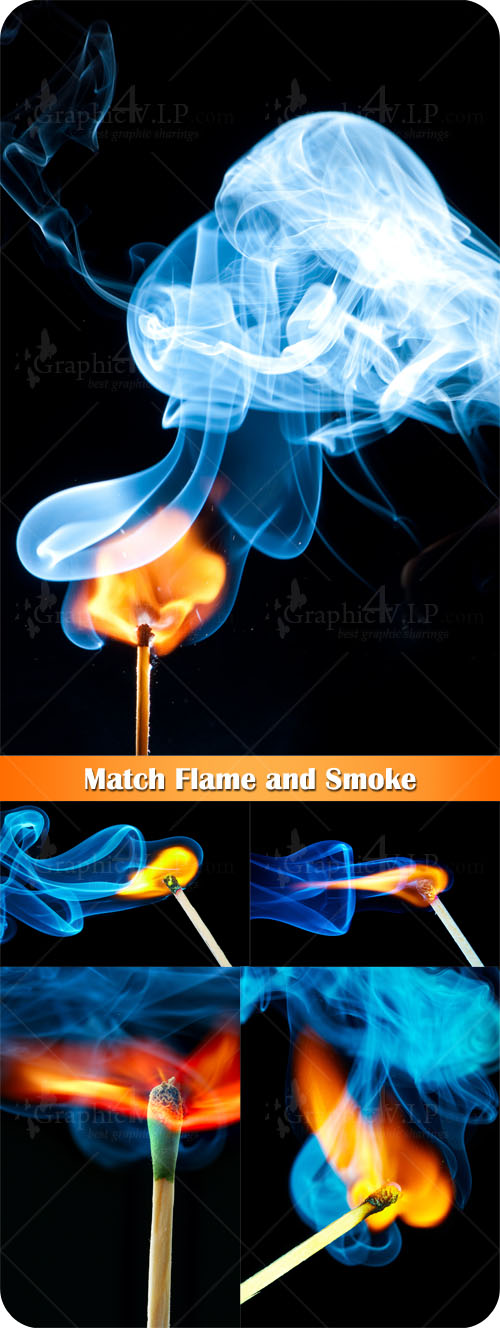 Match Flame and Smoke - Stock Photos