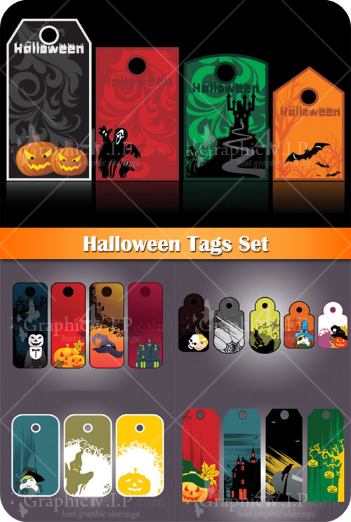 Halloween Tags Set - Stock Vectors