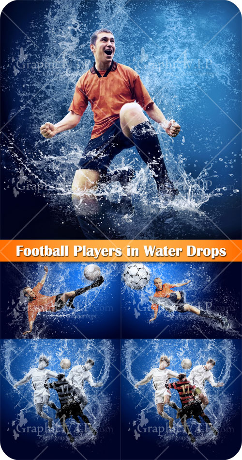 Football Players in Water Drops - Stock Photos