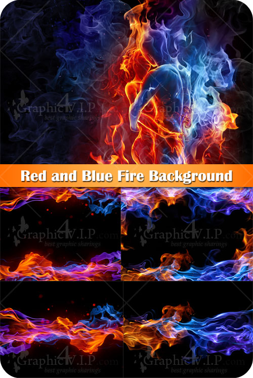 Red and Blue Fire Background - Stock Photos
