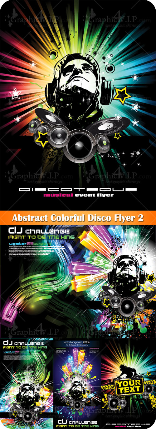 Abstract Colorful Disco Flyer 2 - Stock Vectors