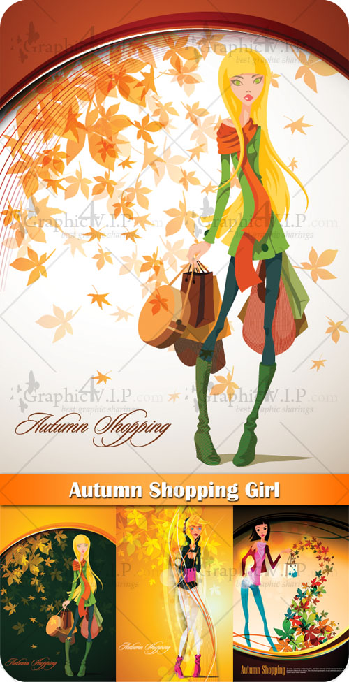Autumn Shopping Girl - Stock Vectors