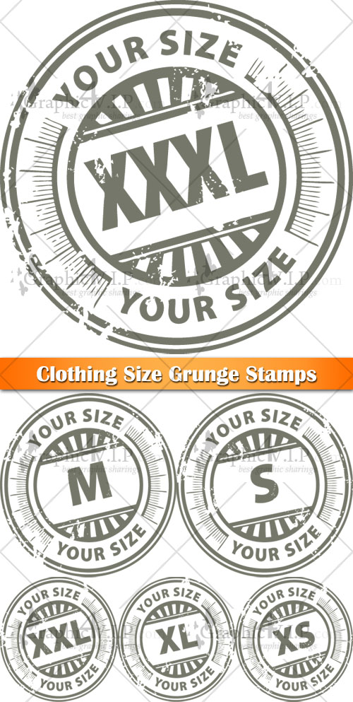Clothing Size Grunge Stamps - Stock Vectors