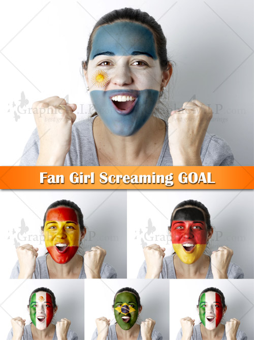 Fan Girl Screaming GOAL - Stock Photos