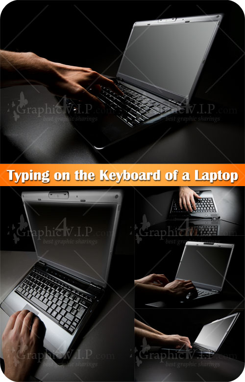 Typing on the Keyboard of a Laptop - Stock Photos