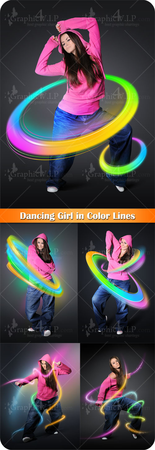 Dancing Girl in Color Lines - Stock Photos