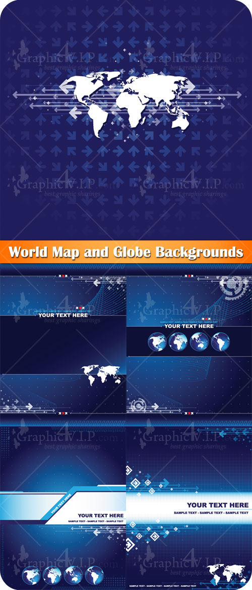 World Map and Globe Backgrounds - Stock Vectors