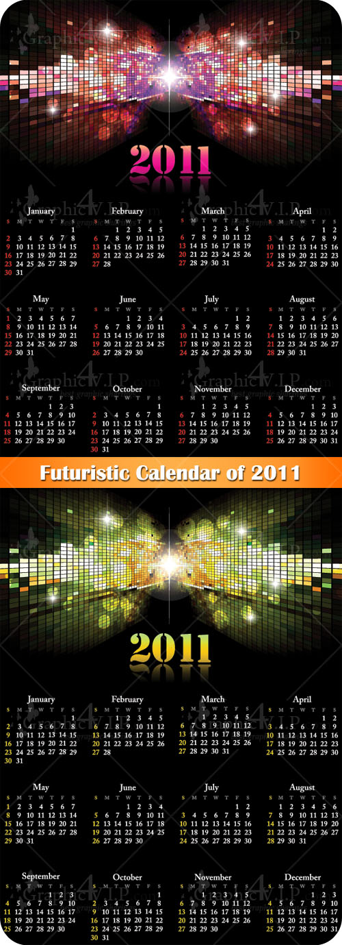 Futuristic Calendar of 2011 - Stock Vectors