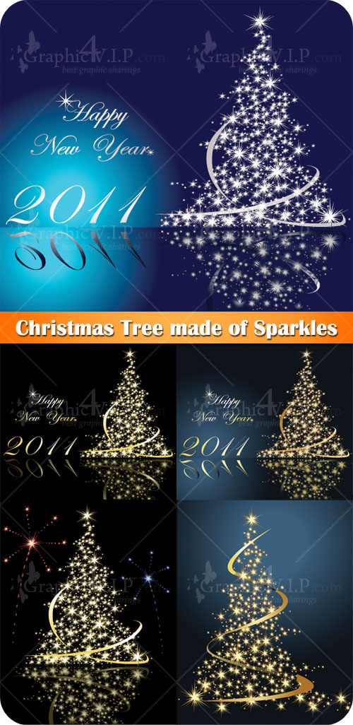 Christmas Tree made of Sparkles - Stock Vectors