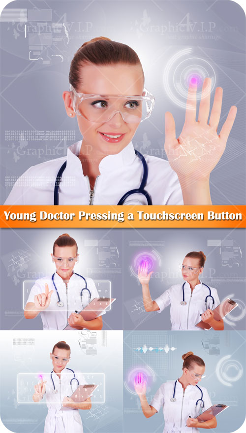 Young Doctor Pressing a Touchscreen Button - Stock Photos