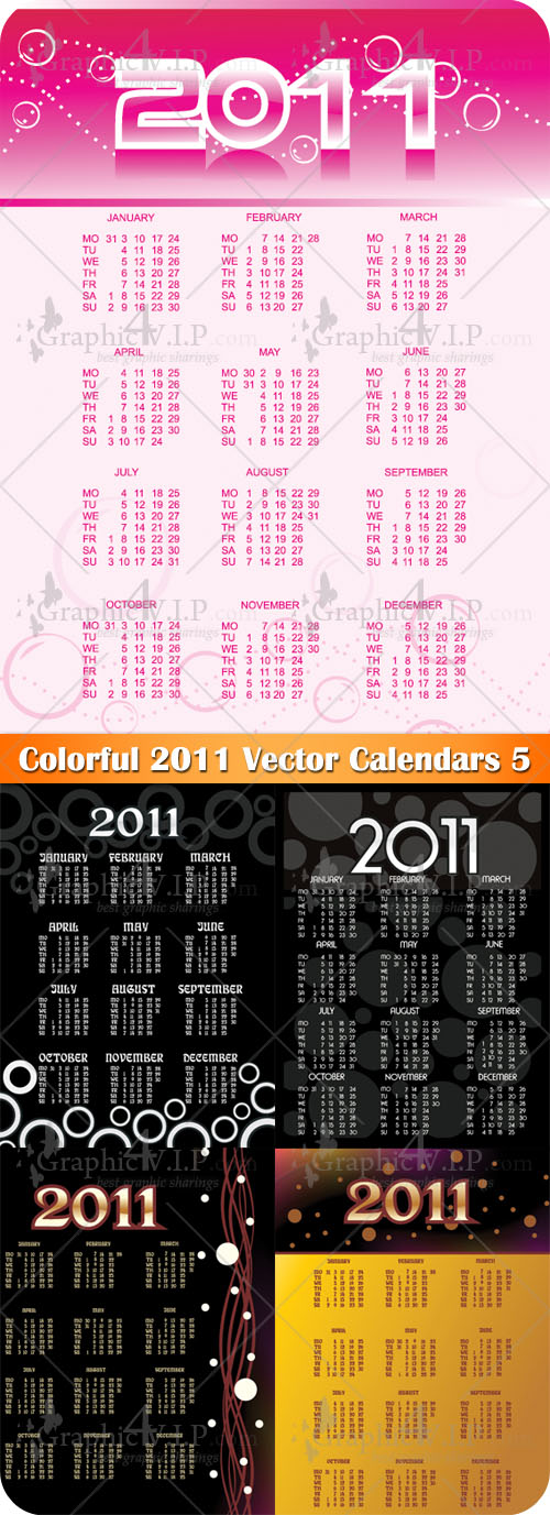 Colorful 2011 Vector Calendars 5 - Stock Vectors