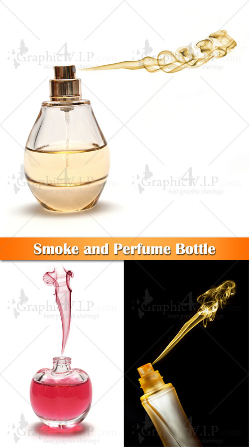 Smoke and Perfume Bottle - Stock Photos