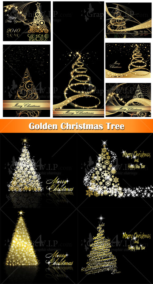Golden Christmas Tree - Stock Vectors