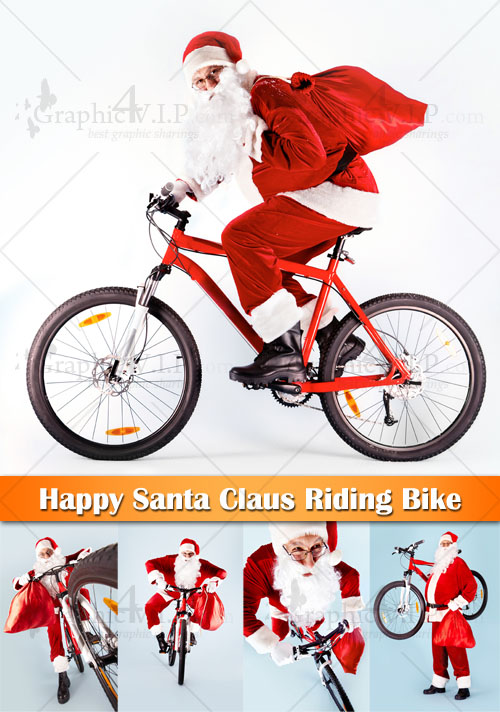 Happy Santa Claus Riding Bike - Stock Photos