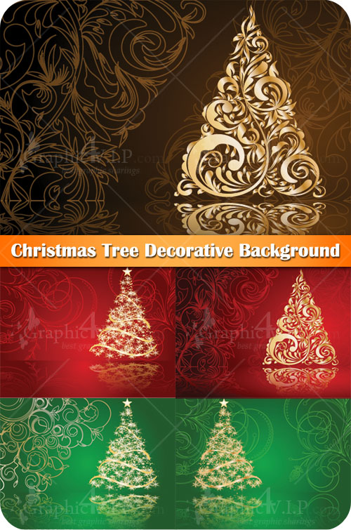 Christmas Tree Decorative Background - Stock Vectors