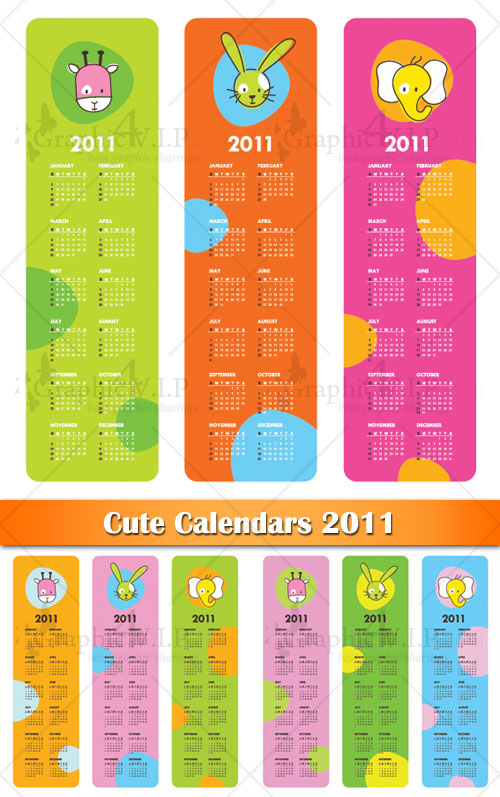 Cute Calendars 2011 - Stock Vectors
