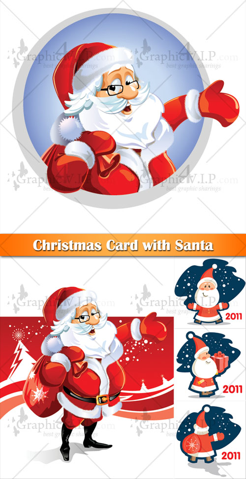 Christmas Card with Santa - Stock Vectors