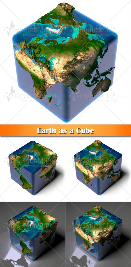 Earth as a Cube - Stock Photos