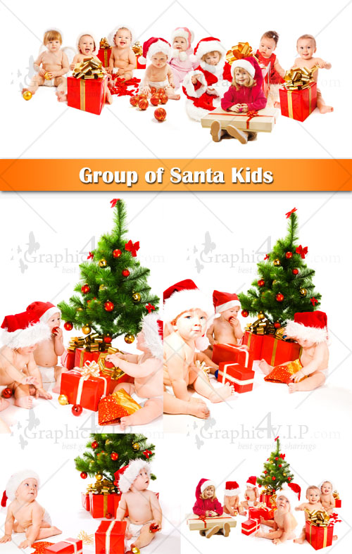 Group of Santa Kids - Stock Photos
